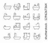 set of bath related vector line ... | Shutterstock .eps vector #1296267364