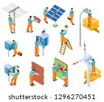 electrician isometric set.... | Shutterstock .eps vector #1296270451