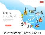 flat isometric landing page... | Shutterstock . vector #1296286411