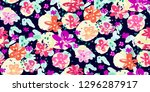 colourful flowers seamless... | Shutterstock .eps vector #1296287917