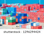 stack of containers box  cargo... | Shutterstock . vector #1296294424