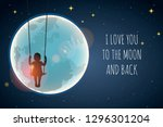 little girl on a swing against... | Shutterstock .eps vector #1296301204