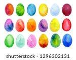 easter eggs set watercolor...   Shutterstock .eps vector #1296302131