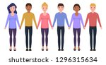 people hold hands  characters... | Shutterstock .eps vector #1296315634