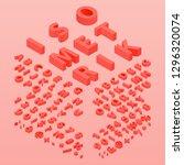 3d font color living coral ... | Shutterstock .eps vector #1296320074