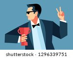 businessman with trophy cup... | Shutterstock .eps vector #1296339751