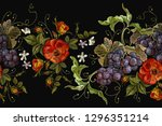 embroidery cluster of grapes ... | Shutterstock .eps vector #1296351214
