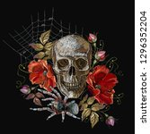 embroidery human skull  red... | Shutterstock .eps vector #1296352204