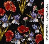 beautiful spring blue irises... | Shutterstock .eps vector #1296352237