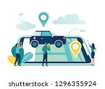 gps system  cartography display ... | Shutterstock .eps vector #1296355924
