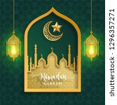 ramadan kareem or eid mubarak... | Shutterstock .eps vector #1296357271