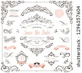 ornate vintage design elements... | Shutterstock .eps vector #1296357604