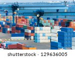 industrial port with containers | Shutterstock . vector #129636005