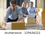 workers in distribution... | Shutterstock . vector #129636221