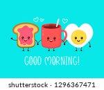 happy cute smiling funny kawaii ... | Shutterstock .eps vector #1296367471