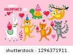valentine's day cute animals... | Shutterstock .eps vector #1296371911