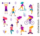 healthy lifestyle. different... | Shutterstock .eps vector #1296391024