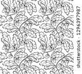 oak leaf acorn black white... | Shutterstock . vector #1296397987