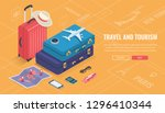 travel equipment in isometric... | Shutterstock .eps vector #1296410344