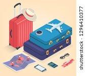 travel equipment in isometric... | Shutterstock .eps vector #1296410377