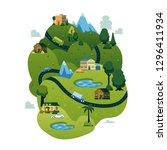 vector rural landscape scenery... | Shutterstock .eps vector #1296411934