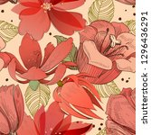 coral red flowers seamless... | Shutterstock .eps vector #1296436291