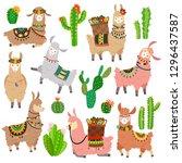 llama cactus. chile llamas... | Shutterstock .eps vector #1296437587