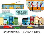 flat city transport concept | Shutterstock .eps vector #1296441391