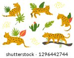 set of hand drawn leopards and... | Shutterstock .eps vector #1296442744