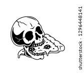 skull eating pizza slice white... | Shutterstock .eps vector #1296448141