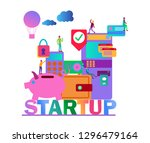 startup vector infographic with ... | Shutterstock .eps vector #1296479164