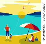 family seaside leisure relax.... | Shutterstock .eps vector #1296480037