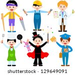 vector of little boys  man ... | Shutterstock .eps vector #129649091