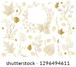 a set of gold leaves  branches... | Shutterstock .eps vector #1296494611