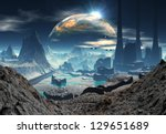 alien planet with industrial... | Shutterstock . vector #129651689