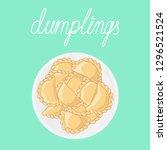 portion of dumplings  pierogi ... | Shutterstock .eps vector #1296521524