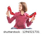 cute laughing teen girl with... | Shutterstock . vector #1296521731