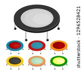 set of the isometric trampoline ... | Shutterstock .eps vector #1296528421