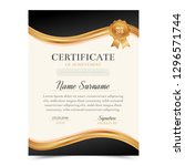 black and gold certificate... | Shutterstock .eps vector #1296571744