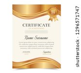 gold  certificate template with ... | Shutterstock .eps vector #1296571747