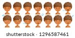 curly hair face dark skin bot... | Shutterstock .eps vector #1296587461
