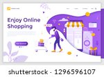 landing page with man carrying... | Shutterstock .eps vector #1296596107