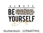 t shirt design with leopard... | Shutterstock .eps vector #1296607441