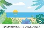 tropical seascape flat fantasy... | Shutterstock .eps vector #1296609514