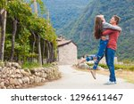 happy young couple having fun... | Shutterstock . vector #1296611467