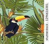 tropical yellow black toucan ... | Shutterstock .eps vector #1296616381