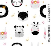 seamless pattern with... | Shutterstock .eps vector #1296620947