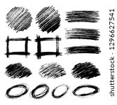set of sketch scribble smears.... | Shutterstock .eps vector #1296627541