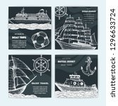 hand drawn nautical banner set. ... | Shutterstock .eps vector #1296633724