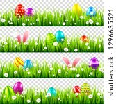 easter eggs on grass with bunny ... | Shutterstock .eps vector #1296635521